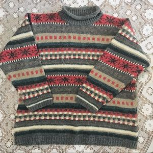 Vintage wool blend snowflake Christmas sweater size 18/20